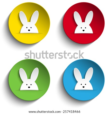Vector - Set of Four Happy Easter Bunny Stickers - stock vector