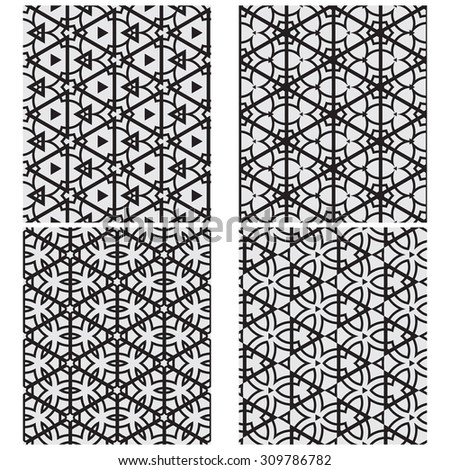vector set of four monochrome pattern for background