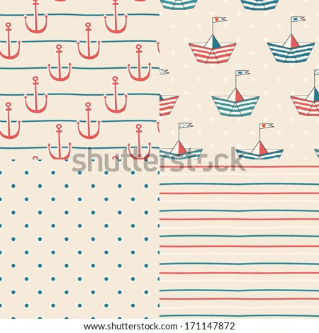 Vector set of four nautical seamless patterns. Nautical icons. Marine symbols. Cartoon boats. Kid's elements for scrap-booking. Childish background. Hand drawn vector illustration. - stock vector
