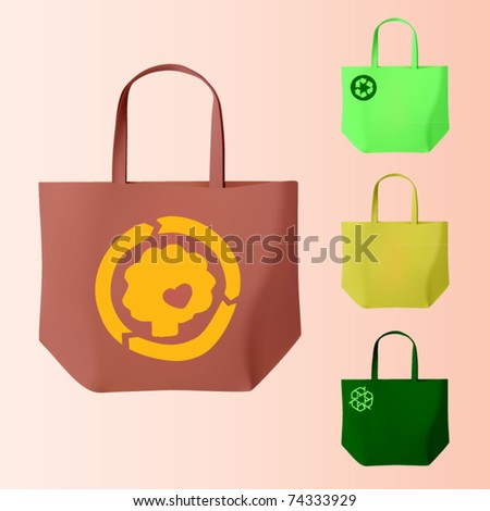 vector set of four reusable bags - stock vector