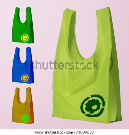 vector set of four reusable bags with a eco sign - stock vector