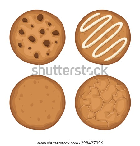 Vector set of four round cookies isolated on a white background.