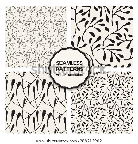 Vector set of four seamless patterns. Floral repeating backgrounds. Stylish collection of floral swatches. Randomly disposed branches. Thin monochrome leaves. Modern graphic design. - stock vector