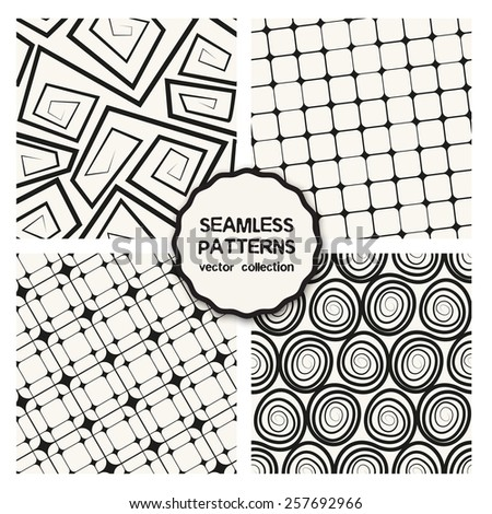 Vector set of four seamless patterns. Repeating backgrounds with scrolls and rotated square grids. Stylish collection of swatches. Monochrome graphic design. - stock vector