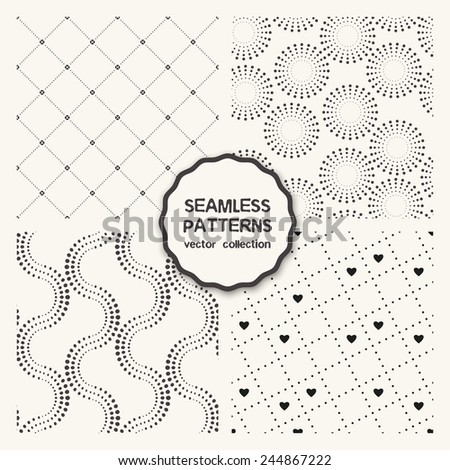 Vector set of four seamless patterns. Repeating geometric tiles with dotted rings and rhombuses, simple stylish backgrounds with hearts, wavy dotted lines - stock vector