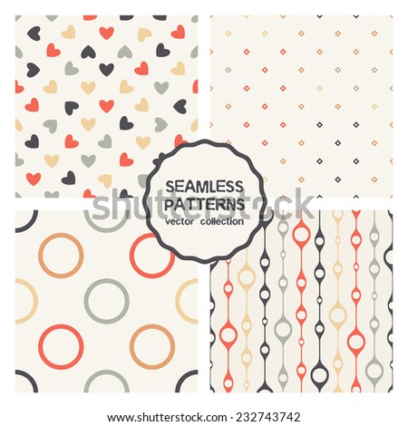 Vector set of four seamless patterns. Stylish collection of geometric patterns. Colorful holiday prints, backgrounds with rhombuses, circles, rings, hearts and swollen stripes - stock vector