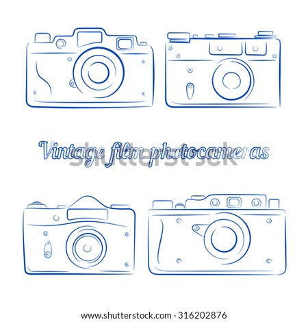 Vector set of four vintage blue ink film photocameras. Element for design, logo, studio, template and other. Live line draw style - stock vector