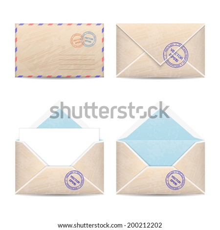 Vector set of four vintage envelopes. Open and closed. With blank paper - stock vector