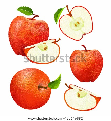 Vector set of fresh ripe red apple with leaves.Different styles of red apple on white background. - stock vector