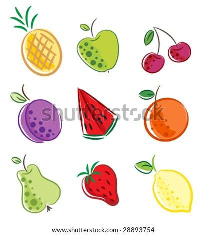 vector set of fruit - stock vector