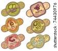 vector set of fruit and berries labels - stock vector