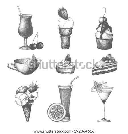 Vector set of fruit cake, cocktails and ice cream. Hand drawn dessert illustrations isolated on white. - stock vector