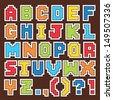 Vector set of fun pixel art alphabet stickers in primary colors. Good for scrap booking, school projects, posters, textiles. See my folio for JPEG version and for more alphabets. - stock vector