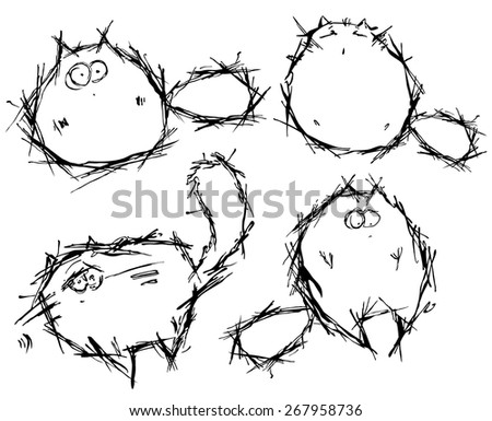 Vector set of funny cats in hand-draw style - stock vector
