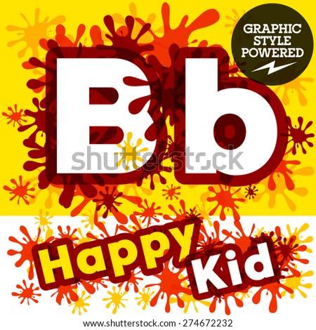 Vector set of funny children splash alphabet. Letter B - stock vector