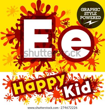 Vector set of funny children splash alphabet. Letter E - stock vector
