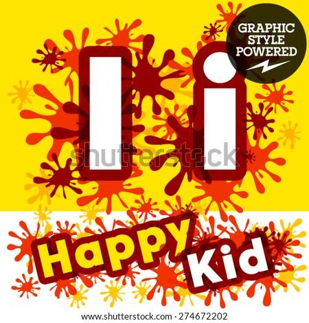 Vector set of funny children splash alphabet. Letter I - stock vector