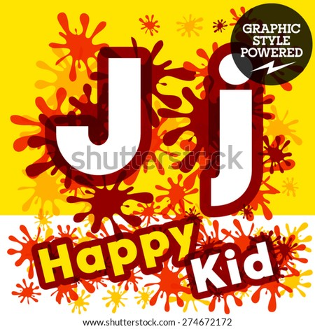 Vector set of funny children splash alphabet. Letter J - stock vector