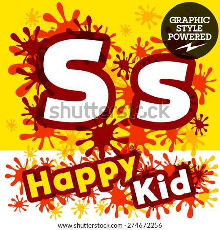 Vector set of funny children splash alphabet.Letter S - stock vector