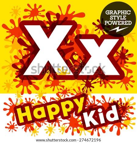Vector set of funny children splash alphabet. Letter X - stock vector