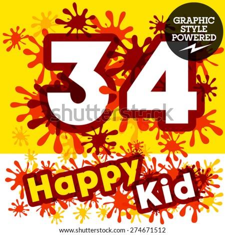 Vector set of funny children splash alphabet. Numbers 3 4 - stock vector