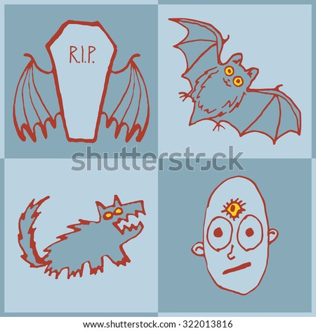 Vector set of funny Halloween monsters. Art for print. Hand drawn pen and ink
