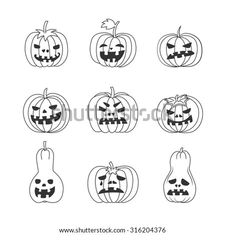 Vector set of funny Halloween pumpkins. Black outline on white isolated background. 9 hand drawn 9 Jack-o'-lantern. Could be used as decorative element of Halloween illustration. - stock vector