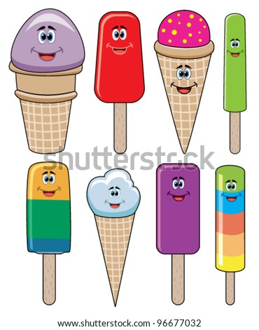 vector set of funny icecream and popsicles - stock vector