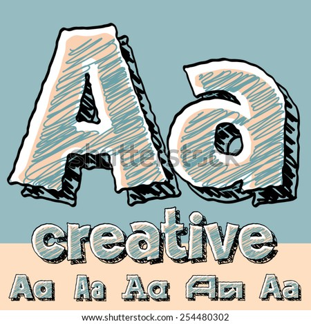 Vector set of funny sketch alphabet. Vector illustration of hand drawing font. Letter A - stock vector