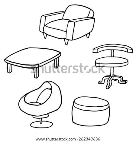 vector set of furniture art deco furniture lines