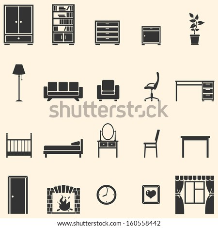 vector set of 20 furniture  icons  - stock vector
