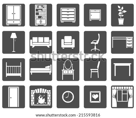 Vector Set of Furniture Icons - stock vector