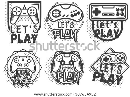 Vector set of game play joystick in vintage style. Design elements, icons, logo, emblems and badges isolated on white background. Outdoor adventure concept illustration. Lets play video game concept. - stock vector