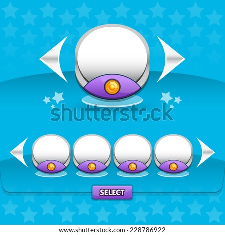 Vector set of game store glossy frames with arrows. Resource bar for game or apps design. Easy to edit. - stock vector