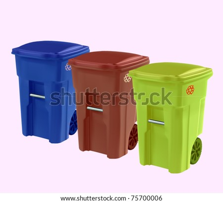 vector set of garbage cans - stock vector