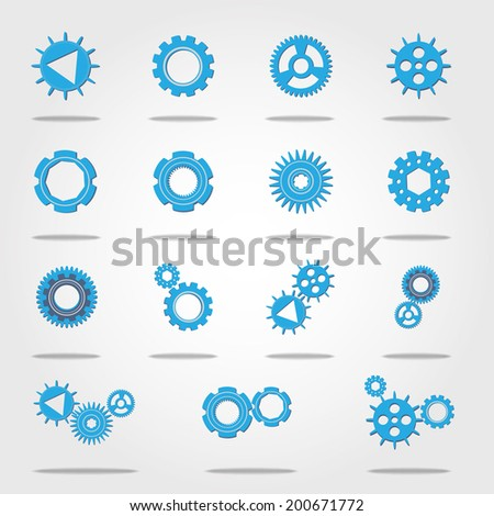 Vector Set of Gear Icon for your Business machine concept. Illustration for you Design - stock vector