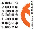 Vector set of gear shapes from clocks and machinery. - stock vector