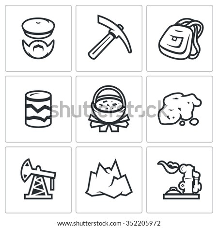 Vector Set of Geology Icons. Geologist, Instrument, Journey, Research, Nutrition, Gold, Oil, Landscape, Gas. Explorer, Kirk, Backpack, Pit, Pot of food, Breed, Oil Derrick, Mountain, Pipeline - stock vector