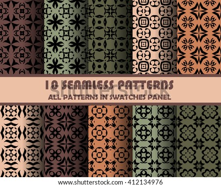 vector set of geometric seamless patterns for design.