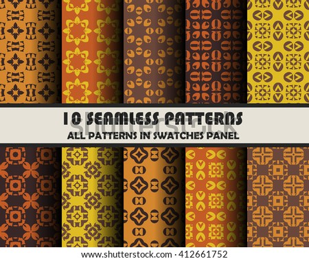 vector set of geometric seamless patterns for design.  - stock vector
