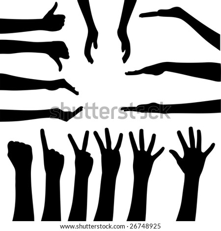 Vector set of gesturing hands shapes - stock vector