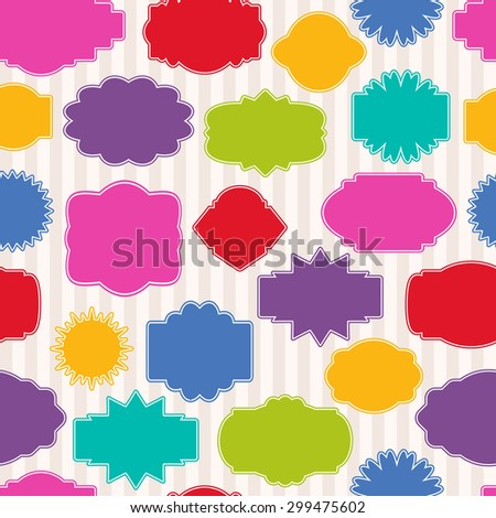 Vector set of gift tags for christmas presents. Different shaped labels with space for text. Seamless colorful pattern.