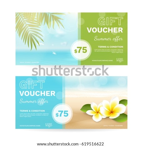 Vector set gift vouchers beach sea stock vector 619516622 vector set of gift vouchers with beach sea palm leaves tropical flowers negle Gallery