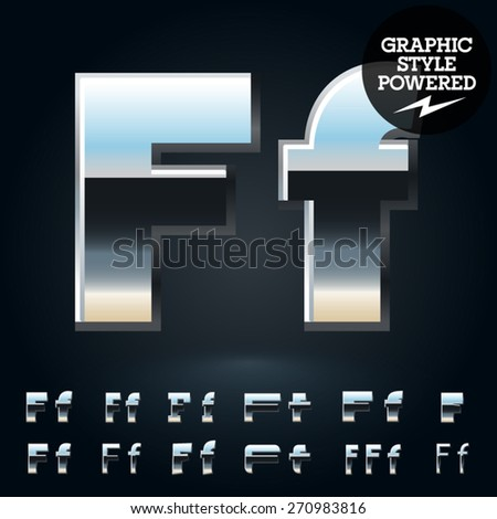 Vector set of glossy and shiny metal steel font. Letter F - stock vector