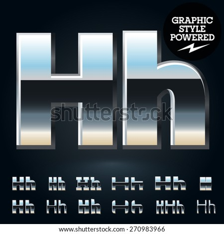Vector set of glossy and shiny metal steel font. Letter H