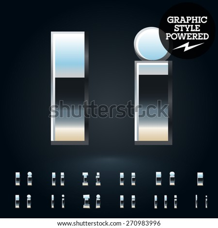 Vector set of glossy and shiny metal steel font. Letter I - stock vector