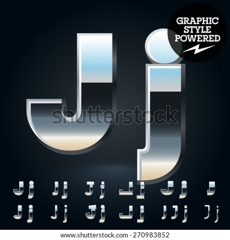 Vector set of glossy and shiny metal steel font. Letter J - stock vector