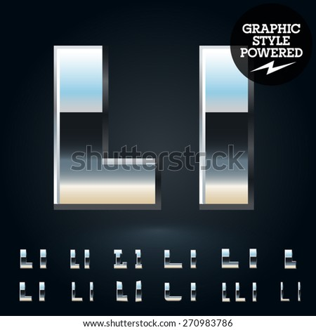 Vector set of glossy and shiny metal steel font. Letter L - stock vector