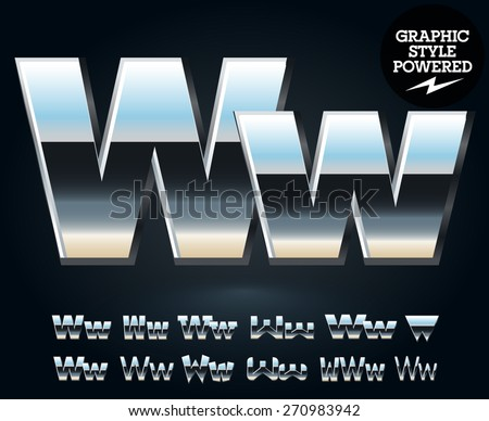 Vector set of glossy and shiny metal steel font. Letter W - stock vector