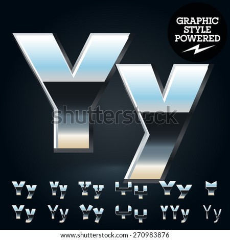 Vector set of glossy and shiny metal steel font. Letter Y - stock vector